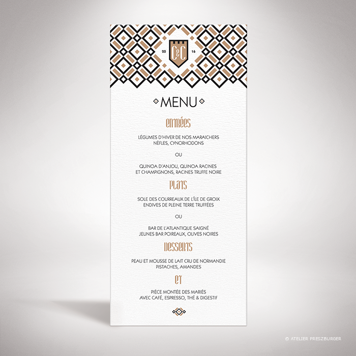 Gondy – Menu de mariage contemporain de style royal par Julien Preszburger – Photo non contractuelle