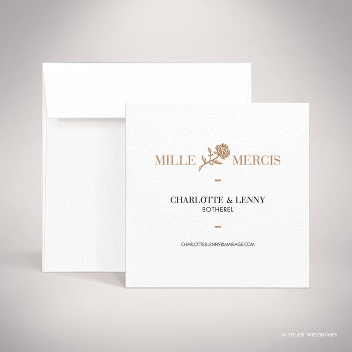 Arcy – Carte de remerciement de mariage dans un style contemporain, illustrée d'une rose par Julien Preszburger – Photo non contractuelle