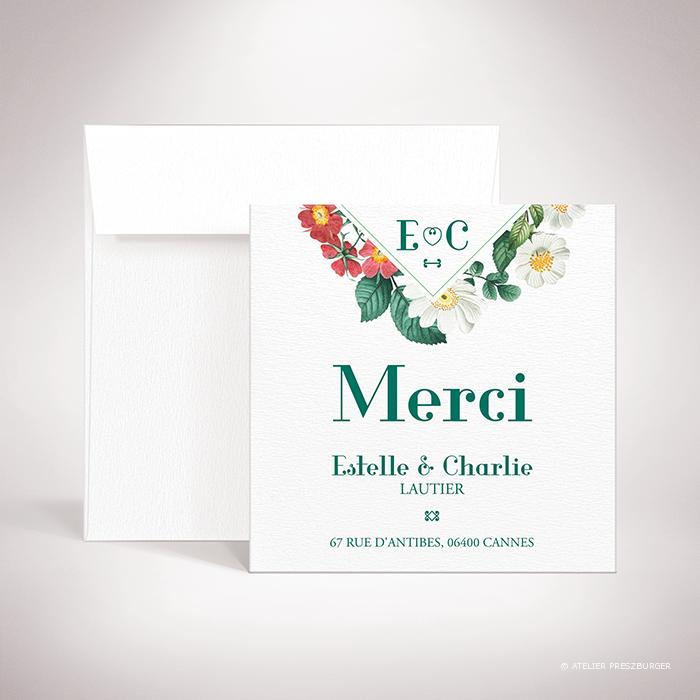 Batz – Carte de remerciement de mariage de style floral, sur le thème des roses sauvages, illustrée par Julien Preszburger – Photo non contractuelle