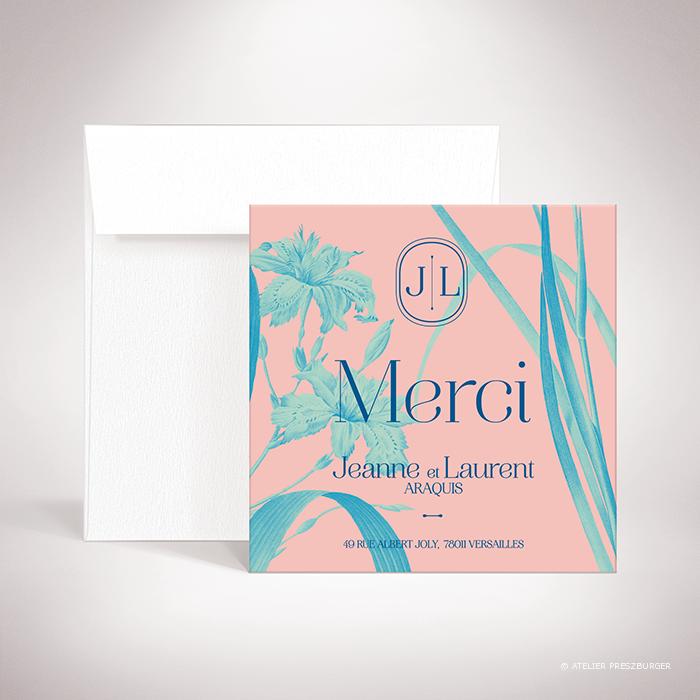 Feray – Carte de remerciement Feray de la collection mariage sur le thème des fleurs, illustrée d'Iris par Julien Preszburger – Photo non contractuelle