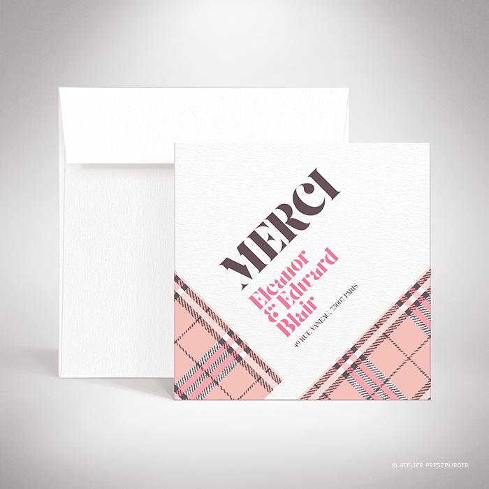 Manners – Carte de remerciement de mariage dans un style contemporain, illustrée d'un tartan anglais par Julien Preszburger – Photo non contractuelle