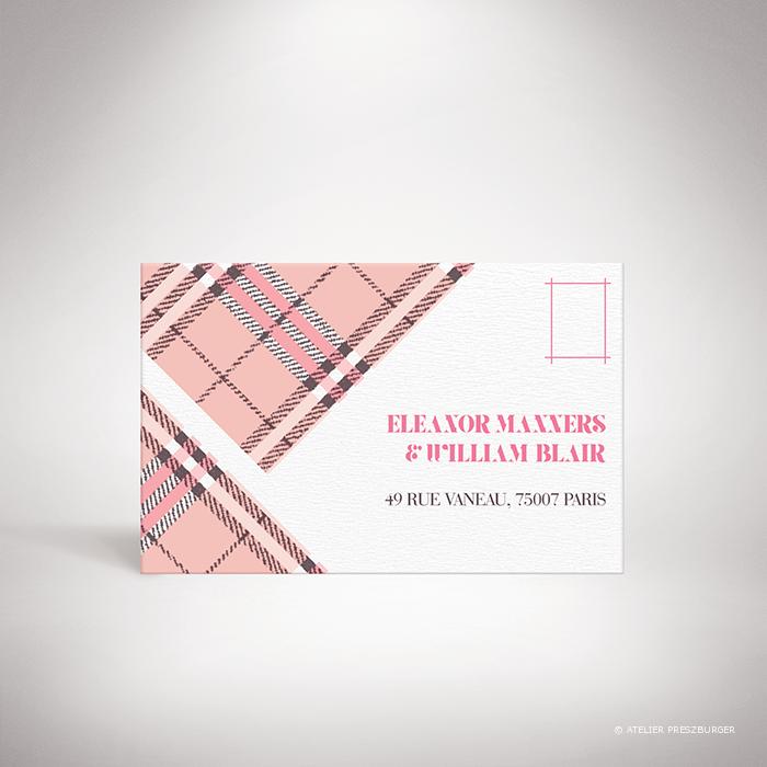 Manners – Carton réponse de mariage dans un style contemporain, illustré d'un tartan anglais par Julien Preszburger – Photo non contractuelle