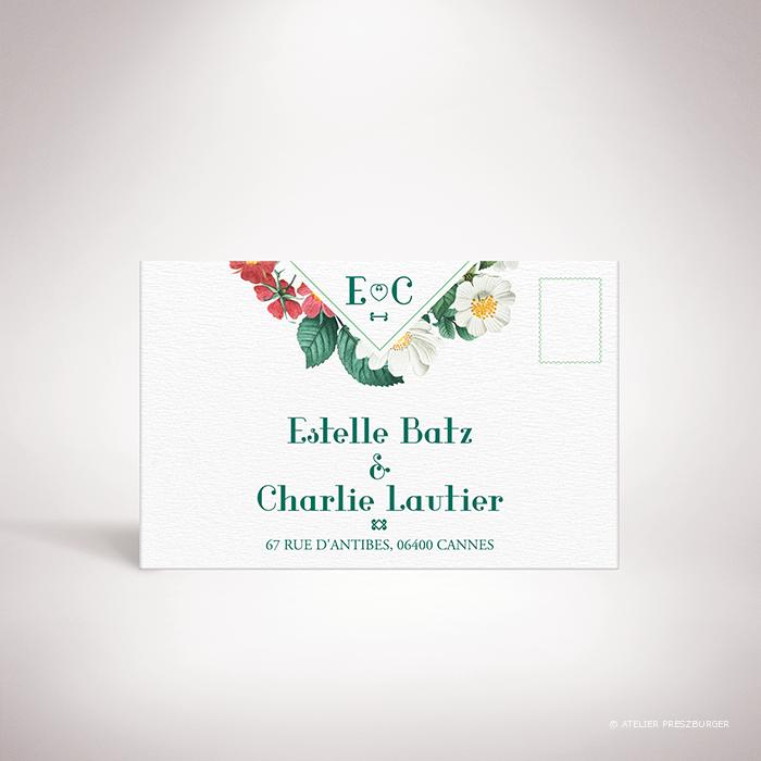 Batz – Carton réponse de mariage de style floral, sur le thème des roses sauvages, illustré par Julien Preszburger – Photo non contractuelle