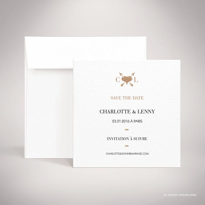 Arcy – Carte save the date de mariage dans un style contemporain, illustrée d'un cœur traverser par une flèche par Julien Preszburger – Photo non contractuelle