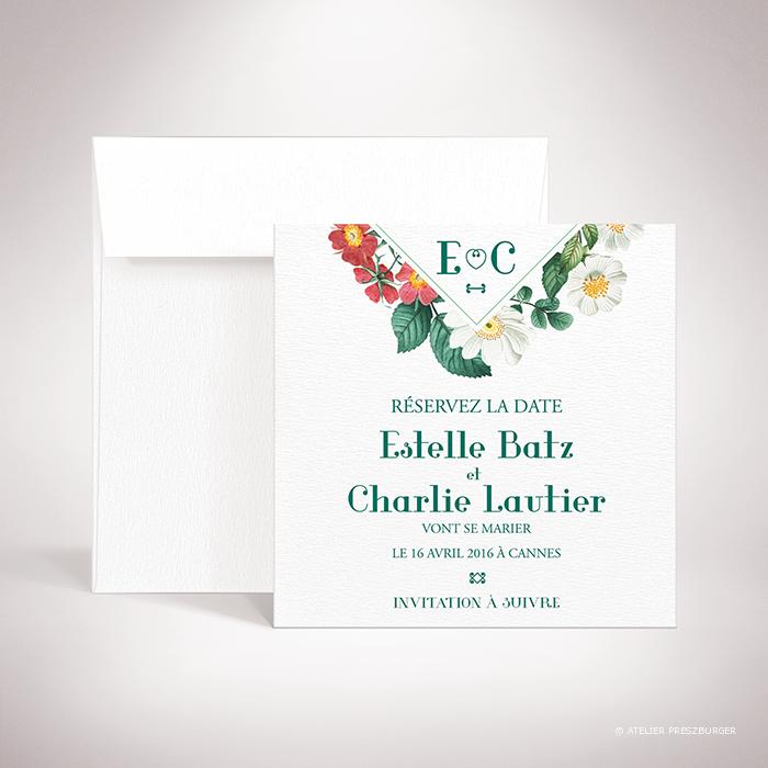 Batz – Carte save the date de mariage de style floral, sur le thème des roses sauvages, illustrée par Julien Preszburger – Photo non contractuelle