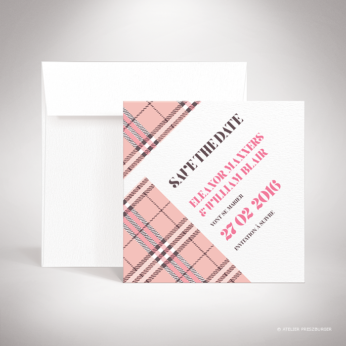 Manners – Carte save the date de mariage dans un style contemporain, illustrée d'un tartan anglais par Julien Preszburger – Photo non contractuelle