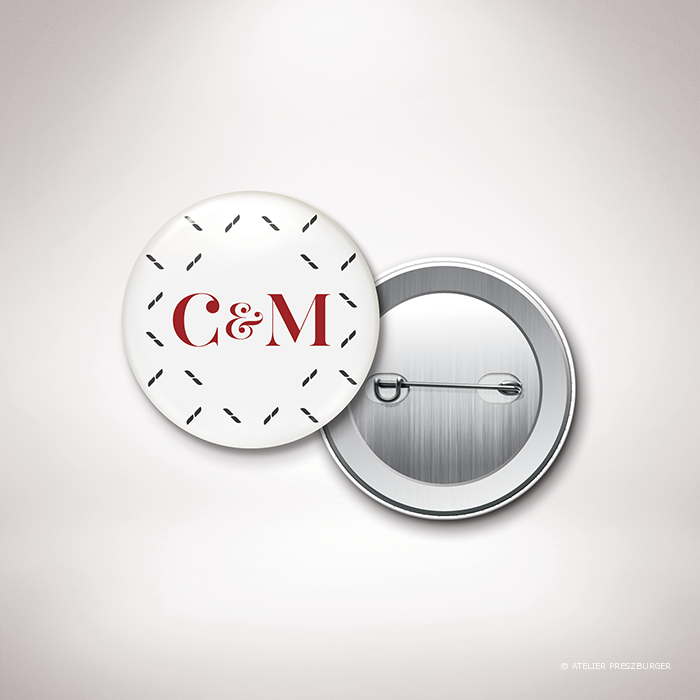 Nielly – Badge de mariage classique, illustré d'un motif décoratif orignal par Julien Preszburger – Photo non contractuelle