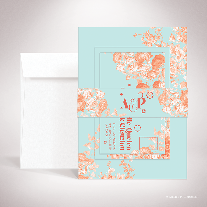 "Quelen – Bande de maintien ""belly band"" de mariage de style floral, illustrée d'un bouquet de fleurs par Julien Preszburger – Photo non contractuelle"