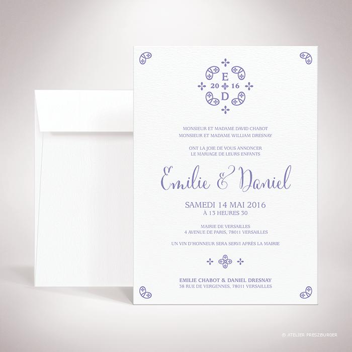 Chabot – Faire-part de mariage classique, illustré d'un motif sacré par Julien Preszburger – Photo non contractuelle