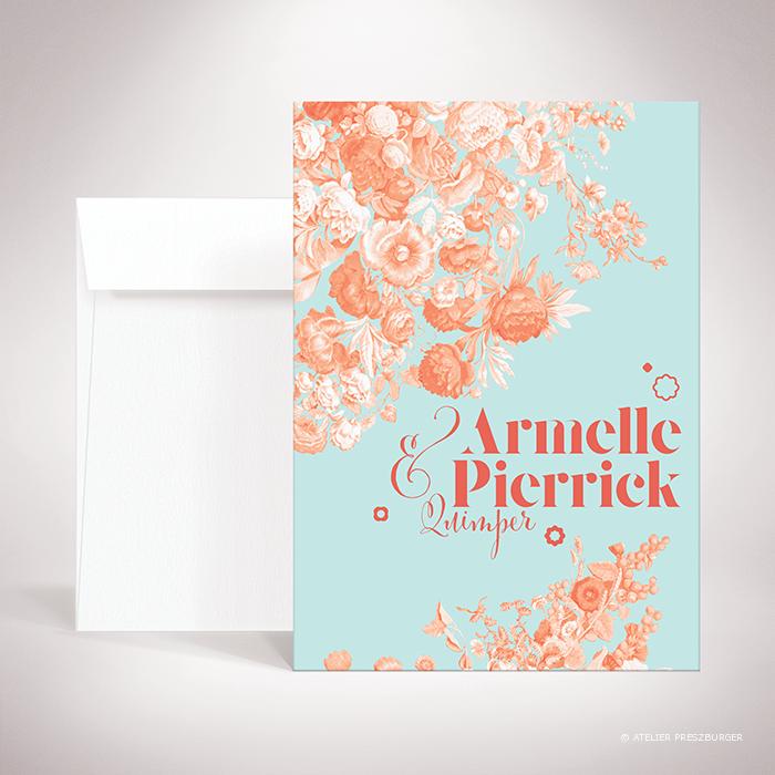 Quelen – Faire-part Quelen de la collection mariage sur le thème des fleurs, illustré d'un bouquet de fleurs par Julien Preszburger – Photo non contractuelle