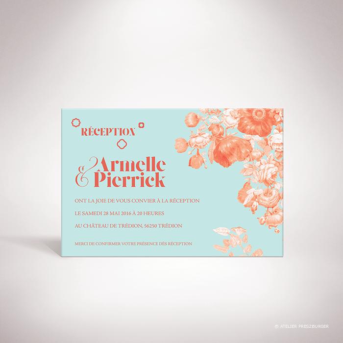 Quelen – Carton invitation de mariage de style floral, illustré d'un bouquet de fleurs par Julien Preszburger- Photo non contractuelle
