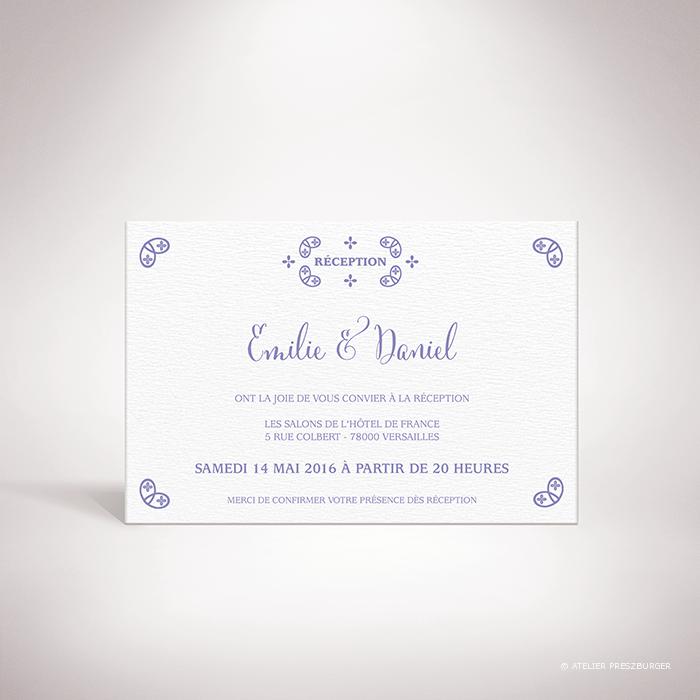 Chabot – Carton invitation de mariage classique, illustré d'un motif sacré par Julien Preszburger – Photo non contractuelle