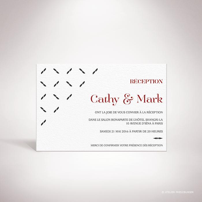 Nielly – Carton invitation de mariage classique, illustré d'un motif décoratif orignal par Julien Preszburger – Photo non contractuelle