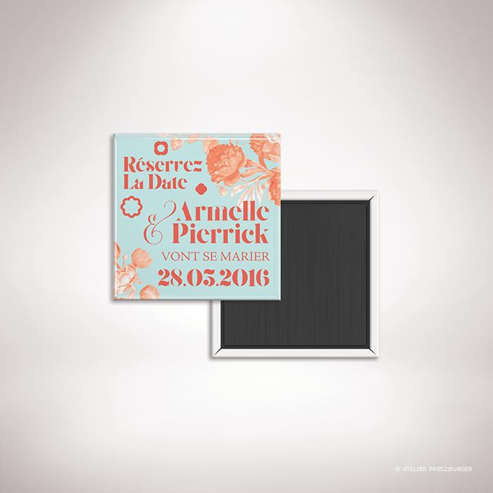 Quelen – Magnet de la collection mariage sur le thème des fleurs, illustré d'un bouquet de fleurs par Julien Preszburger – Photo non contractuelle