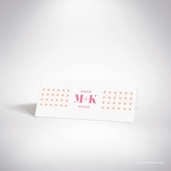 Mazenod – Marque place de mariage classique, illustré d'un motif décoratif de tissage par Julien Preszburger – Photo non contractuelle