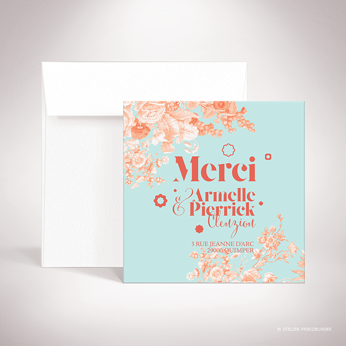 Quelen – Carte de remerciement de mariage de style floral, illustrée d'un bouquet de fleurs par Julien Preszburger – Photo non contractuelle