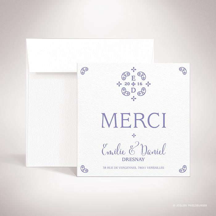 Chabot – Carte de remerciement de mariage de mariage classique, illustré d'un motif sacré par Julien Preszburger – Photo non contractuelle