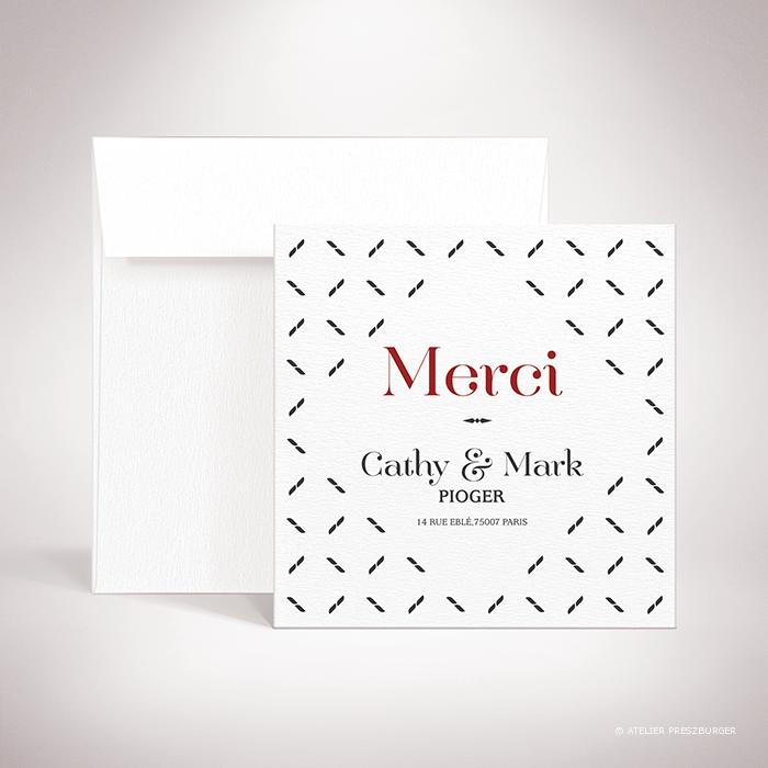 Nielly – Carte de remerciement de mariage classique, illustrée d'un motif décoratif orignal par Julien Preszburger – Photo non contractuelle