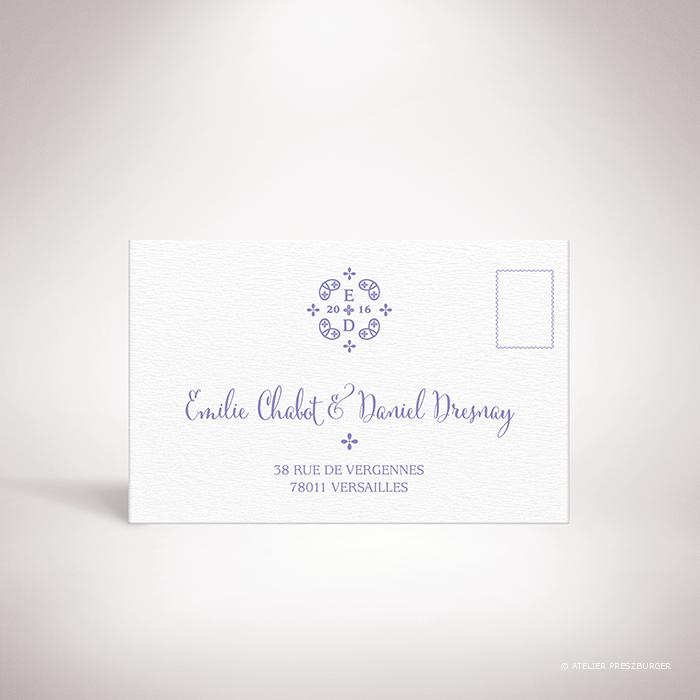 Chabot – Chabot – Carton réponse de mariage classique, illustré d'un motif sacré par Julien Preszburger – Photo non contractuelle – Photo non contractuelle