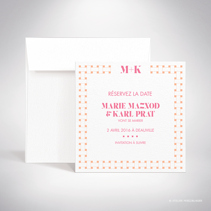 "Mazenod – Carte ""save the date"" de mariage classique, illustrée d'un motif décoratif de tissage par Julien Preszburger – Photo non contractuelle"