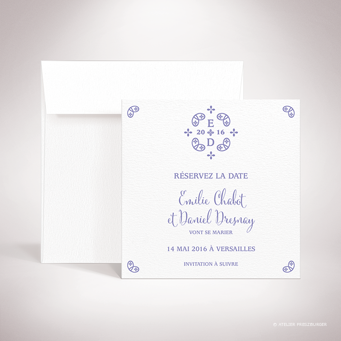 "Chabot – Carte ""save the date"" de mariage classique, illustré d'un motif sacré par Julien Preszburger – Photo non contractuelle"