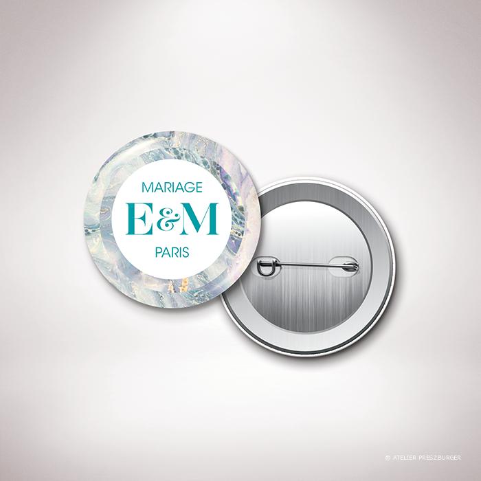 Lyrot – Badge de mariage contemporain de style abstrait, décoré d'un motif de papier marbré par Julien Preszburger – Photo non contractuelle
