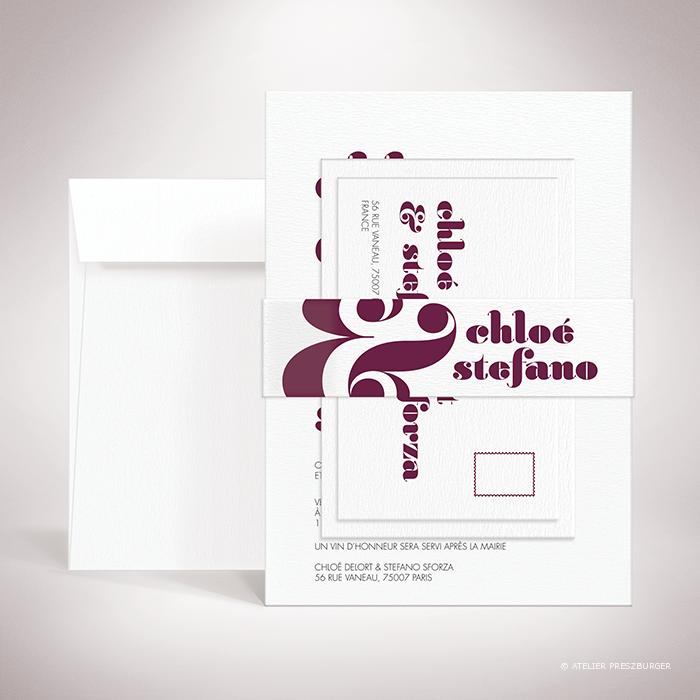 """Delort – Bande de maintien """"belly band"""" de mariage contemporain de style typographique par Julien Preszburger – Photo non contractuelle"""