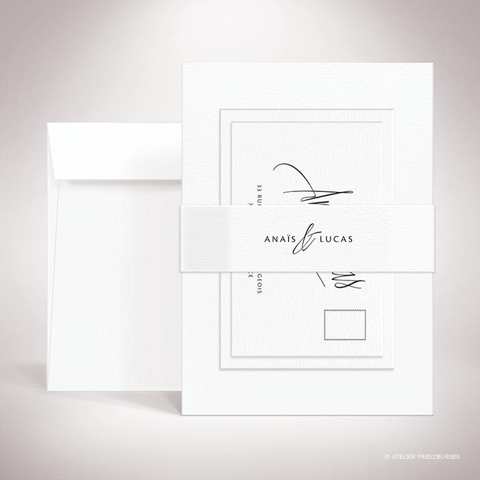 """Galand – Bande de maintien """"belly band"""" de mariage contemporain de style typographique par Julien Preszburger – Photo non contractuelle"""