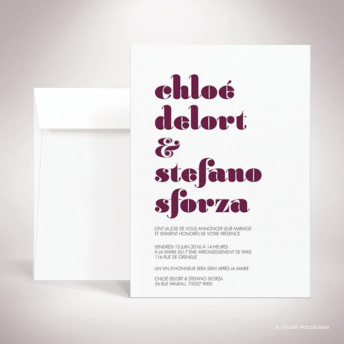 Delort – Faire-part recto/verso de mariage contemporain de style typographique par Julien Preszburger – Photo non contractuelle