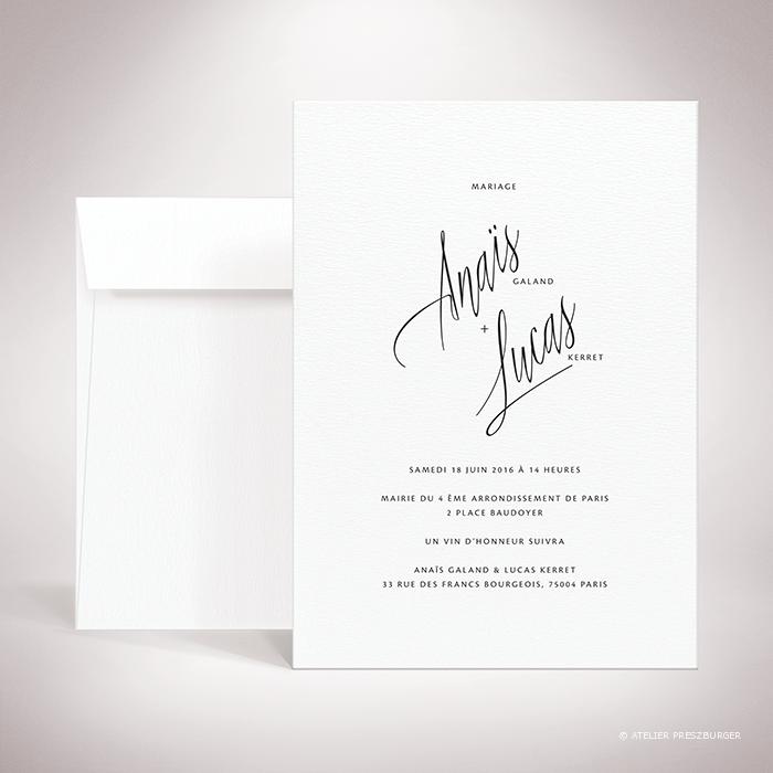 Galand – Faire-part recto/verso de mariage contemporain de style typographique par Julien Preszburger – Photo non contractuelle