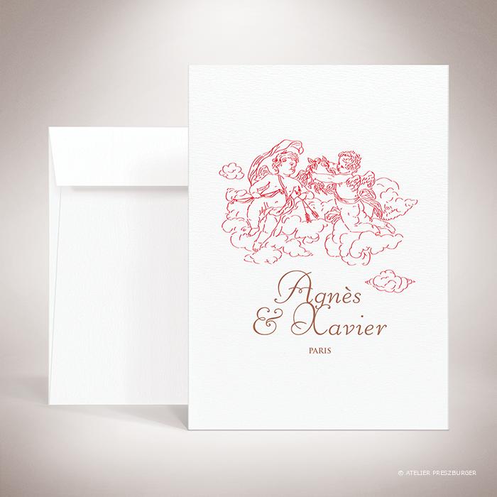 Césac – Faire-part de mariage sur le thème de Cupidon, ange de l'amour par Julien Preszburger – Photo non contractuelle