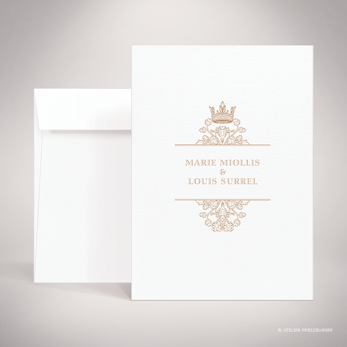 Miollis – Faire-part de mariage classique royal par Julien Preszburger – Photo non contractuelle