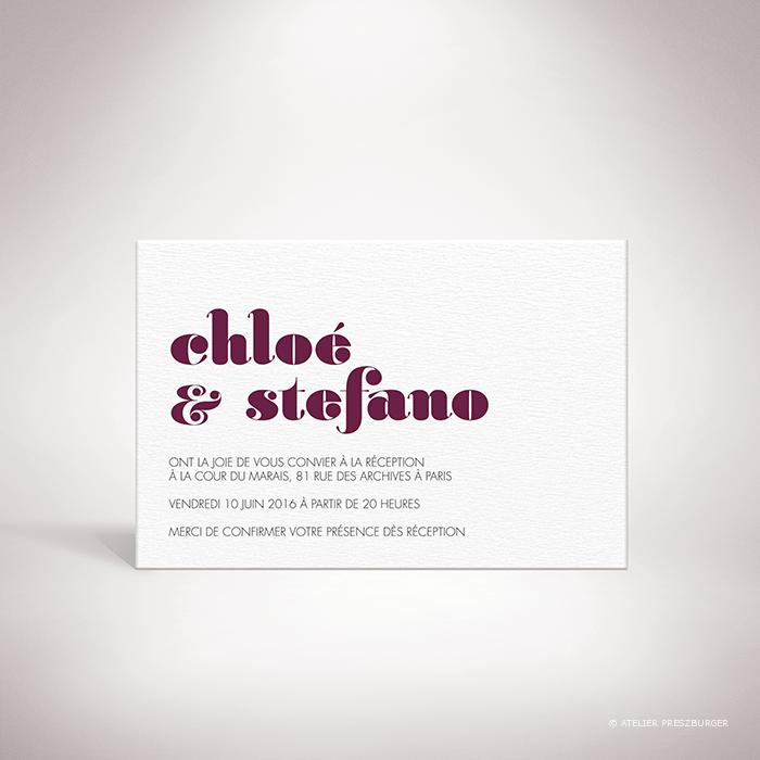 Delort – Carton invitation de mariage contemporain de style typographique par Julien Preszburger – Photo non contractuelle
