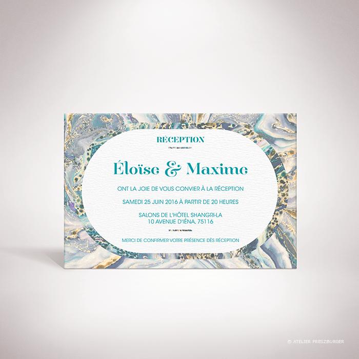 Lyrot – Carton invitation de mariage contemporain de style abstrait, décoré d'un motif de papier marbré par Julien Preszburger – Photo non contractuelle