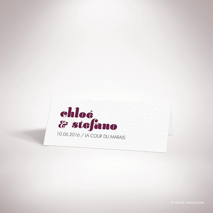 Delort – Marque place de mariage contemporain de style typographique par Julien Preszburger – Photo non contractuelle
