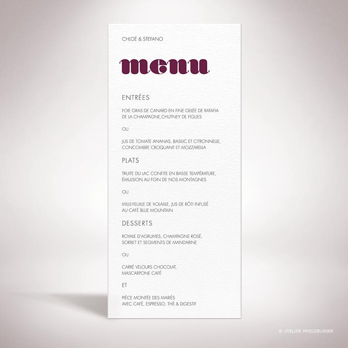 Delort – Menu de mariage contemporain de style typographique par Julien Preszburger – Photo non contractuelle
