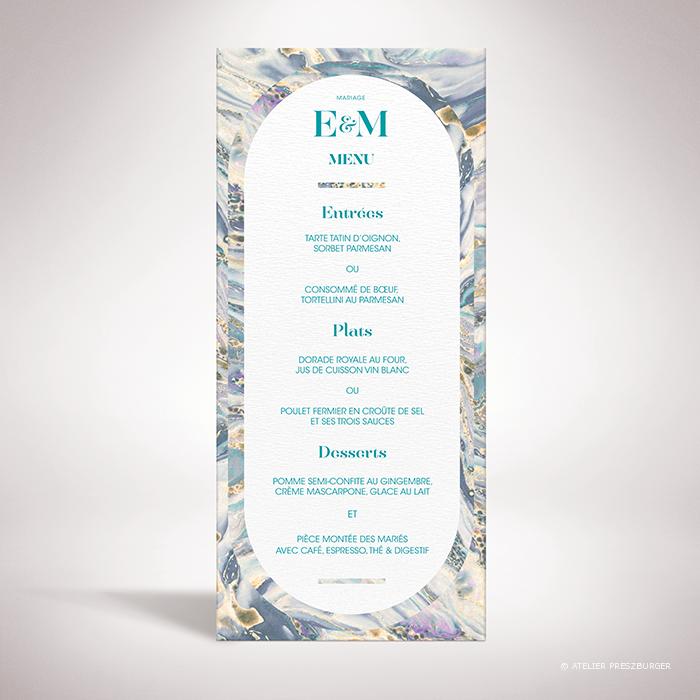 Lyrot – Menu de mariage contemporain de style abstrait, décoré d'un motif de papier marbré par Julien Preszburger – Photo non contractuelle