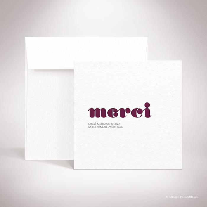 Delort – Carte de remerciement de mariage contemporain de style typographique par Julien Preszburger – Photo non contractuelle