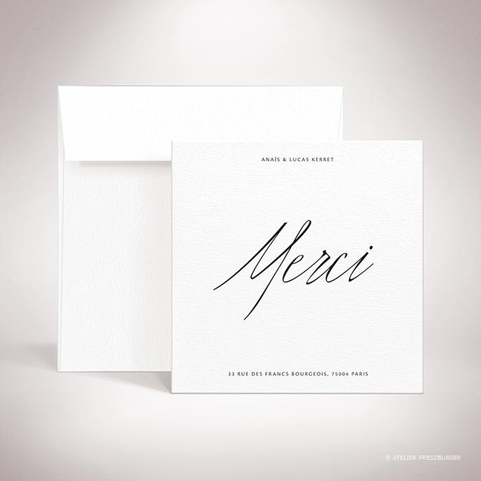Galand – Carte de remerciement de mariage contemporain de style typographique par Julien Preszburger – Photo non contractuelle