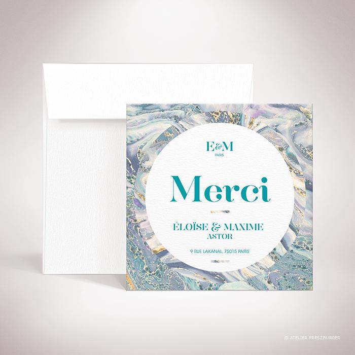 Lyrot – Carte de remerciement de mariage contemporain de style abstrait, décorée d'un motif de papier marbré par Julien Preszburger – Photo non contractuelle