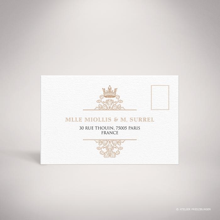 Miollis – Carton réponse recto de mariage classique royal par Julien Preszburger – Photo non contractuelle