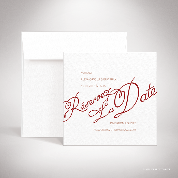 Ortolli – Carte save the date de mariage classique de style calligraphique par Julien Preszburger – Photo non contractuelle