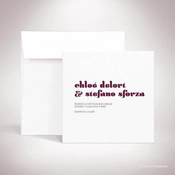Delort – Carte save the date de mariage contemporain de style typographique par Julien Preszburger – Photo non contractuelle