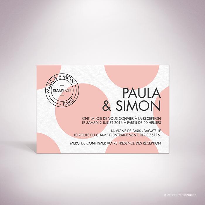 Suller-Carton invitation de mariage contemporain de style rétro, décoré d'un motif à pois par Julien Preszburger-Photo non contractuelle