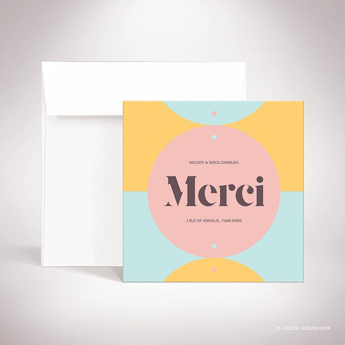 Wendel- Carte de remerciement de mariage contemporain de style rétro, décorée d'un motif à pois par Julien Preszburger -Photo non contractuelle