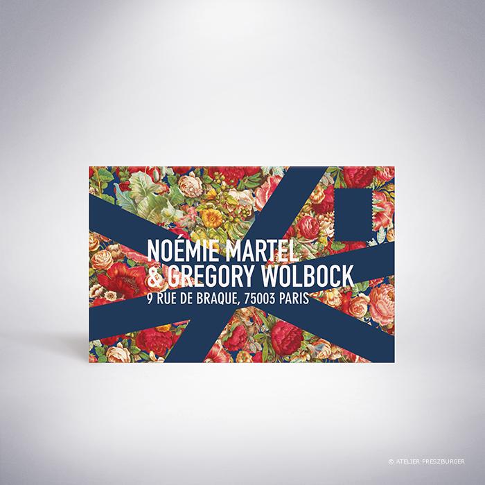 Martel – Carton réponse de mariage de style contemporain sur le thème des fleurs, illustré d'un motif rétro créé par Julien Preszburger – Photo non contractuelle