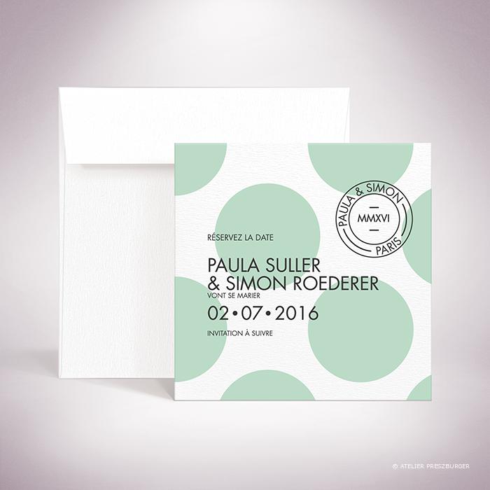 """Suller-Carte """"save the date"""" de mariage contemporain de style rétro, décorée d'un motif à pois par Julien Preszburger-Photo non contractuelle"""