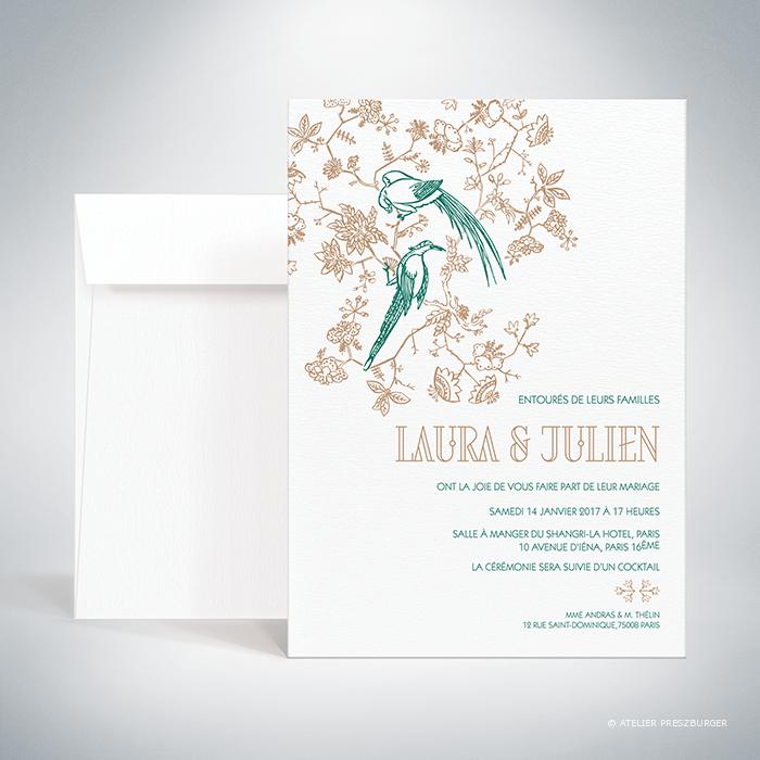 Andras – Faire-part de mariage de style illustratif sur le thème des oiseaux du paradis par Julien Preszburger – Photo non contractuelle