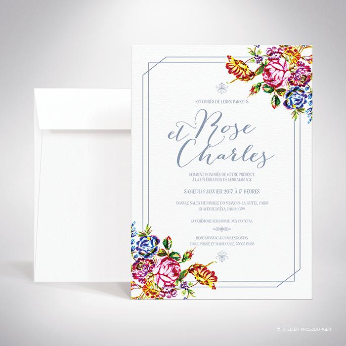 Savignac – Faire-part de mariage sur le thème des fleurs, inspiré de la porcelaine française et illustré à l'aquarelle par Julien Preszburger – Photo non contractuelle