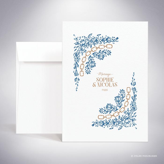 Abzac – Faire-part recto/verso de mariage contemporain de style illustratif sur le thème des fleurs sauvages par Julien Preszburger – Photo non contractuelle